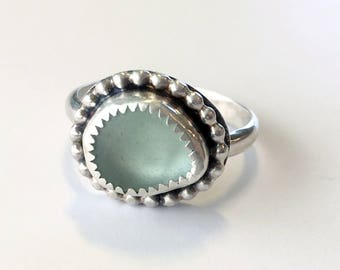 Sea Glass Ring - Sterling Silver Ring - Unique Silver Ring  - Beach Glass Ring - Sea Glass Jewelry - Womens Rings - Boho Jewelry - Boho Ring