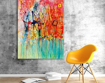 Jellyfish Canvas Print - Colourful Turquoise & Orange Wall Art Print on Canvas Based on Original Abstract Painting by Louise Mead