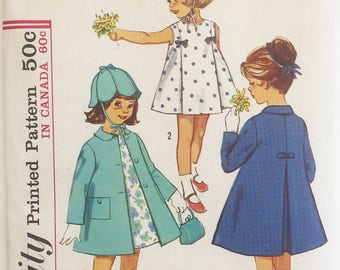Simplicity vintage pattern 9522, out of print sewing pattern, Child's Size 2 swing coat and dress plus hat, easy girls' dress patterns