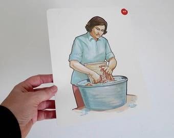 Large Vintage Flash Card Washing Clothes - Domestic Chores - 1965 Peabody Language Development