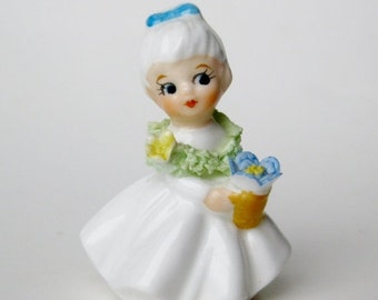 """HOLIDAY SALE Vintage 50s Napco Napcoware Bone China Flower Girl of the Month Miniature 2"""" Figurine"""