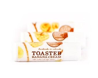 SUMMER SALE - Toasted Banana Cream Lip Balm - All Natural - Sweet Banana and Smoky Vanilla