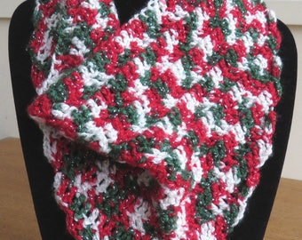 Cowl scarf in red, green and white