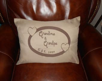 NEW ITEM! - Grandma & Grandpa Throw Pillow - Birth Announcement Pillow