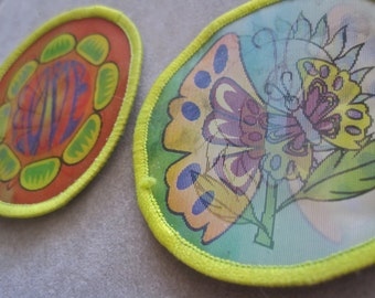 Hippie Patches SET of 2 Vintage HOLOGRAM Butterfly Love Flowers Iridescent Round Embroidered Edges for Jeans Jacket GROOVY Colorful Floral