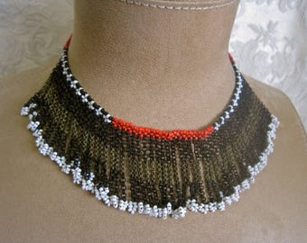 Tribal FRINGE CHOKER Ethnic Boho Chain Seed Beads Beaded Bib Collar Black White Red Vintage 70s Hippie African Festival Unique One of a Kind