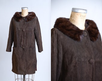 1950s Leather and Mink Swing Coat Brown Suede Fur Collar Button Down Jacket