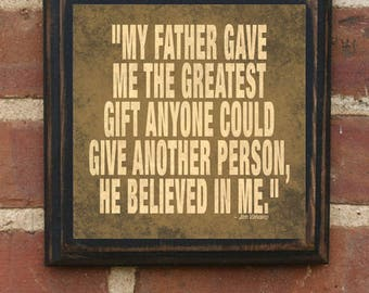 Father's Day Gift Present Jim Valvano Quote Wall Plaque Sign Art Vintage Style Home Decor for Dad Daddy Pop Papa Gift From Kids NC State