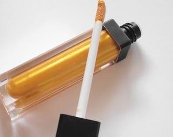 Metallic Pure Gold Lip Gloss Mineral Makeup Vegan  Lip Gloss 24 Karat Shiny Thick Luscious liquid lipstick Mirror Tube Luscious