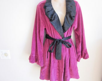 Short robe wrap jacket unique ruffle neckline cozy velour girlie S M