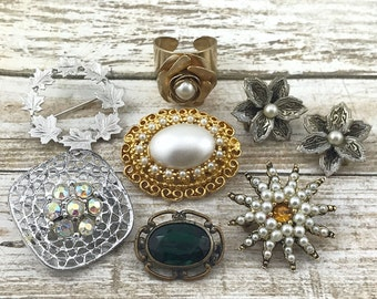 SPRING (SALE 50%) Brooch Lot, Pretty Vintage Jewelry Lot, Pearl Brooches,Damascene Earrings, Coventry Ring, Rhinestone Brooches, Victorian G