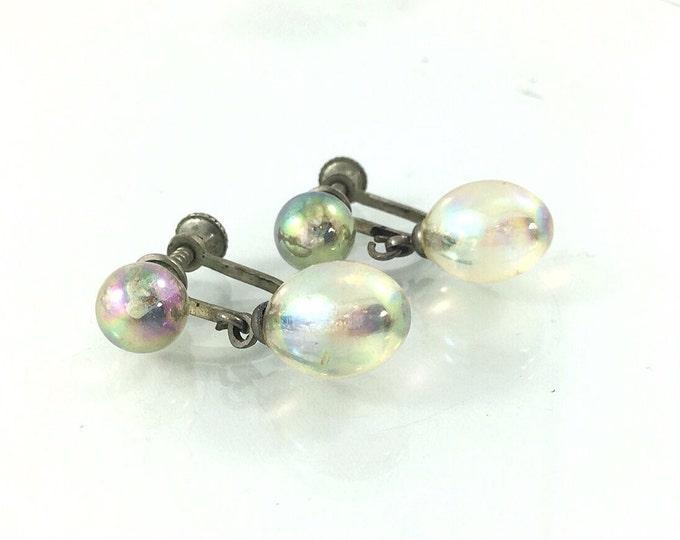 Antique Bubble Glass Earrings, Carnival Glass Earrings. Antique Vintage dangle earrings. Rainbow glass bubble bead earrings.