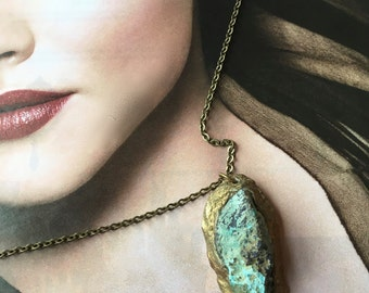 """Turquoise """"Mountain"""" Mineral Pendant/Necklace-rough cut stone-Handmade one of a kind -by Pauletta Brooks"""
