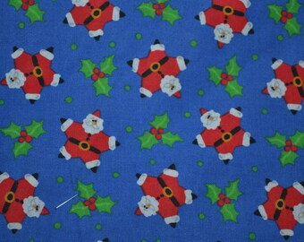 "Vintage Christmas quilt cotton fabric,  Santa and Holy flowers panel 28"" x 44"" new Christmas"