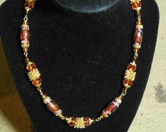 "Orange Gold Necklace Earrings Set Crystal & Lampwork glass Jewelry 17"" OOAK One Of A Kind Handmade Jewelry Sets"