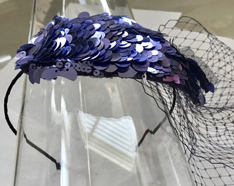 Purple Sequin Teardrop Fascinator Hat with Veil and Satin Headband, for weddings, parties, evening, occasions