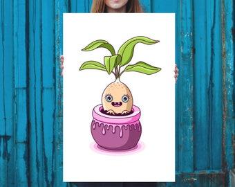 Mandrake Print, High Quality Art Poster, Home Decor, Wall Art, Poster Design, Illustration - Magic Plant Pot, Kawaii Plant