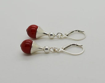 Red Coral Lever Back Sterling Silver Earrings 31