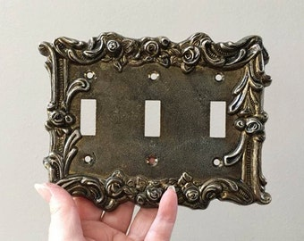 Vintage Light Switch Cover ~ Triple Swith Plate ~ Shabby Chic