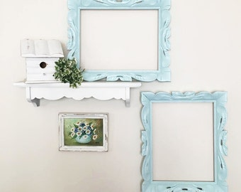 Painted Blue Wood Frames ~ 2 Mid Century Frames