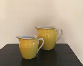 Vintage Erphila Pitcher Set Procelian Czechoslovakia Bright Yellow Pair Creamers