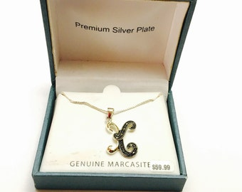 Vintage marcasite pendant/Necklace silver plated, mint condition still in original box, item no M403