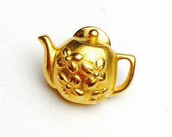 Tea pot pin/lapel, gold tone, Gifts for him, Pre Holiday sale, item no B037