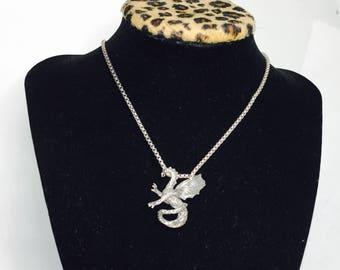 Vintage Silver Dragon Pendant, animal Figural, Clearance Sale, Item S171
