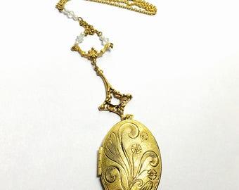 Vintage Art Deco Locket Necklace, gold tone, flower design, Spring Sale, item No. B730