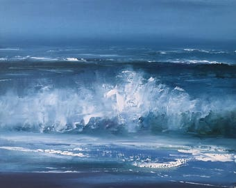 "Original 11"" x 14"" Oil Painting, surf, beach contemporary realism, wave, ocean fine art."