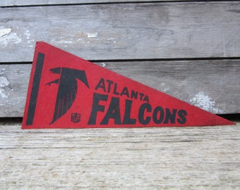 Vintage Football Pennant Atlanta Falcons 5 x 11 Inch 1980s Era NFL Small Mini Felt Pennant Banner Flag Distressed Vintage Display Sports