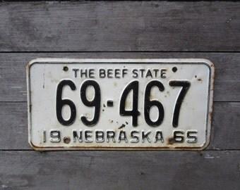 Vintage License Plate Nebraska Beef State 1965 Black & White Distressed Aged Patina Car Auto Hot Rod Rat Rod Lady Den Man Cave Sign VTG