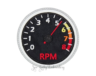 Tachometer Patch - Tachometer Applique - RPM Patch  - Iron on - Embroidered Patch - Iron On Patch - Sew On Patch -  Patch