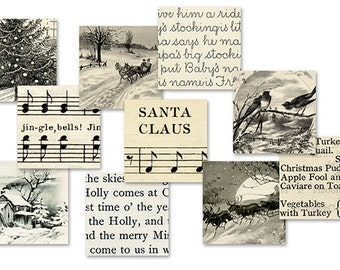 Vintage Sepia Christmas 1 Inch Squares Printable Digital Collage Sheet JPG Format