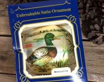 Duck Christmas Ornament, Satin, Goebel, birds, hunter, green head, mallard