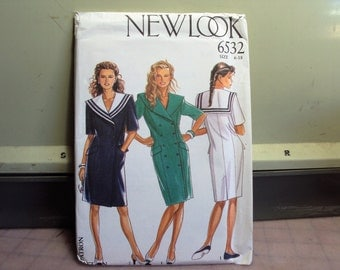 Sailor dress pattern, retro 1980s style, New look retro pattern, patter uncut with factory fold