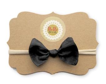 Black Bow Clip, Toddler Headband, Nylon Baby Headband, Infant Hairband, Baby Hairband, Toddler Girl Gift, Black Bow, Ready To Ship