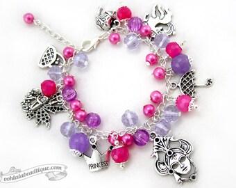 Princess bracelet Charm bracelet pink jewelry crystal bracelet birthstone bracelet whimsical jewelry purple bracelet girls bracelet gift