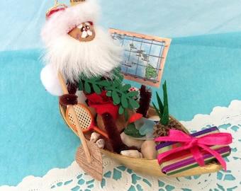 Hawaiian Santa - Mele Kalikmaka - Hawaiian Christmas Ornament - Santa in a Canoe - sea glass - Hawaii St.Nick -  handmade - Soccer Ball