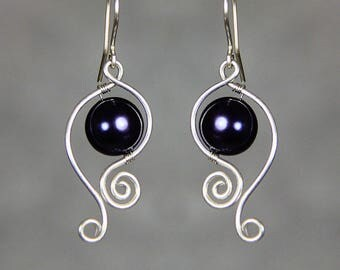 Sterling silver wiring royal blue pearl dangle earrings Bridesmaids gifts Free US Shipping handmade Anni Designs