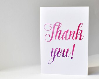 Watercolour Thank you card, thank you note card, watercolour pink purple, blank card, thank you note, thank you gift, say thank you