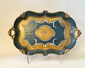 Vintage Florentine Rectangular Serving Tray, Blue and Gold, Italy