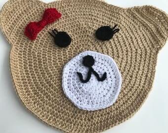 Handmade Crochet Children Bear Rug