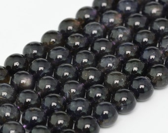 "8MM Iolite Beads Grade AAA Genuine Natural Gemstone Half Strand Round Loose Beads 8"" BULK LOT 1,3,5,10 and 50 (100290h-283)"