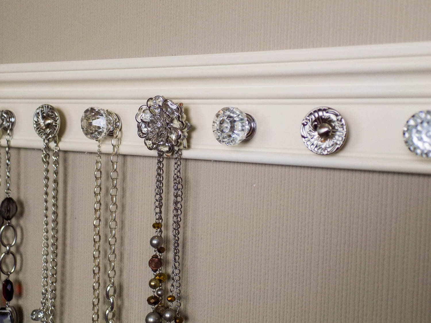 jewelry holder this wall necklace organizer has 7 decorative cabinet knobs featuring large rose center knob - Decorative Cabinet Knobs
