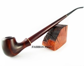 "NEW SuperLong Pipe 13'' ""Lady - Blues"" Tobacco Smoking Pipe Churchwarden of Pear Root Wood, Handcrafted."