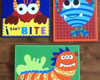 Handpainted Monster Canvas Art with Matching Quilt