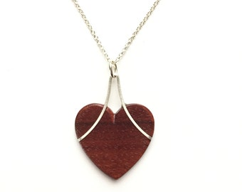 Heart Necklace with Silver and Ebony or Pau Brasil. Gift for Valentines Day, Wife, Mom