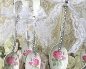 Shabby Spoon Ornament, pink Christmas, pink rose ornament, silverplate spoon decor, vintage lace and rhinestones, fanny pippin