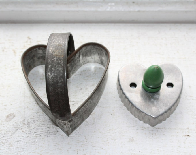2 Vintage Tin Heart Cookie Cutters